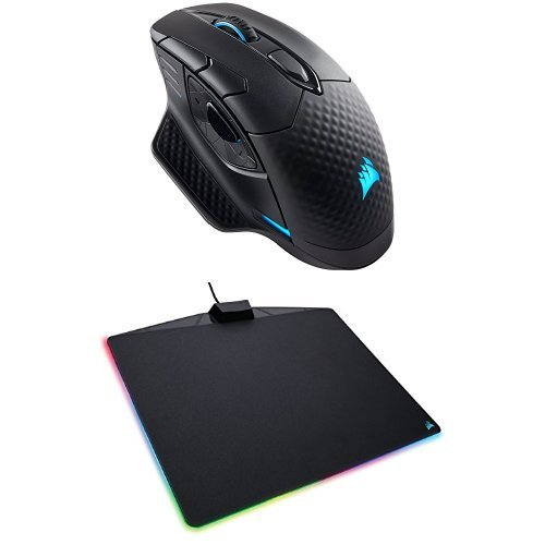 CORSAIRDARKCORERGB SE Performance Wired / Wireless Gaming Mouse with Qi Wireless Charging, Black, Backlit RGB LED, 16000 DPI, Optical and CORSAIR MM800 Polaris RGB Mouse Pad - 15 RGB LED Zones - USB Passthrough - High-Performance Mouse Pad Optimized for Gaming Sensors