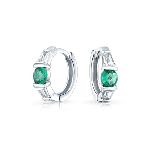 Green White CZ Baguette Huggie Hoop Earrings For Women For Men Simulated Emerald Cubic Zirconia 925 Sterling Silver