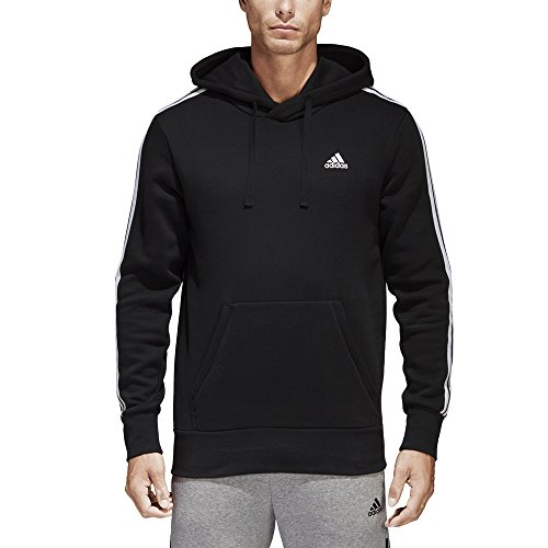 adidas Mens Essentials 3-Stripe Pullover Hoodie, Black/White, Medium