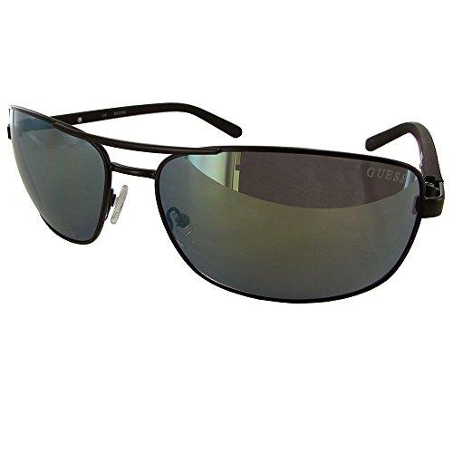 Guess Mens GU6835 Rectangular Wire Rim Sunglasses Black Black - Guess Men Eyewear