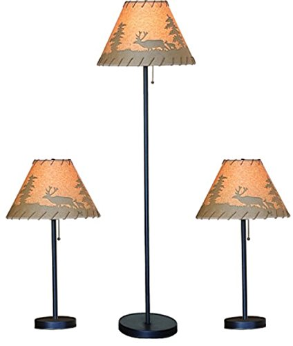 Catalina Lighting Lodge Table and Floor Lamp Set with Printed Pattern on Oil Paper Shade, Rope Stitched Trim and Pull Chain Switch, 19908-000