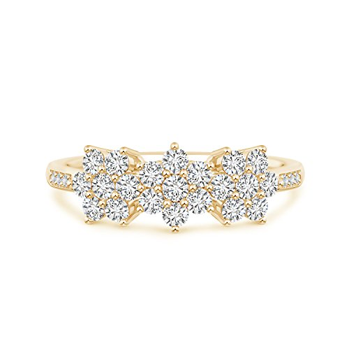 - Classic Round Lab Grown Diamond Triple Flower Ring in 14k Yellow Gold