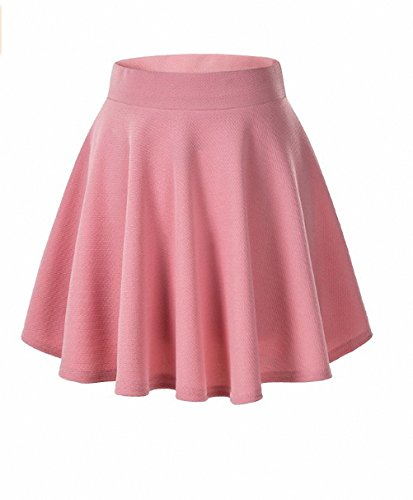 Afibi Girls Casual Mini Stretch Waist Flared Plain Pleated Skater Skirt (Small, Pink)