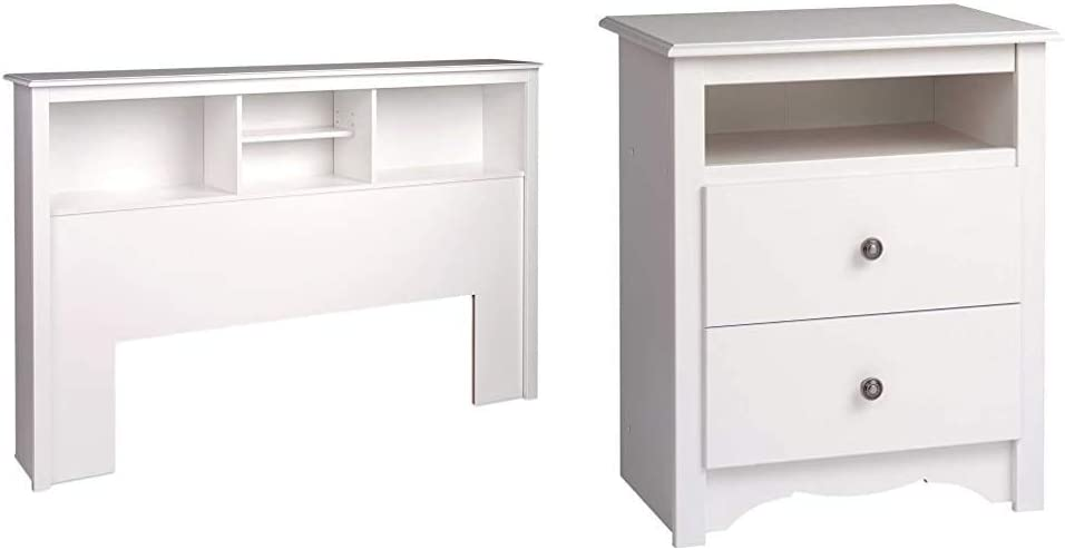 Prepac Full/Queen Bookcase Headboard, White & Monterey White 2-Drawer Tall Night Stand