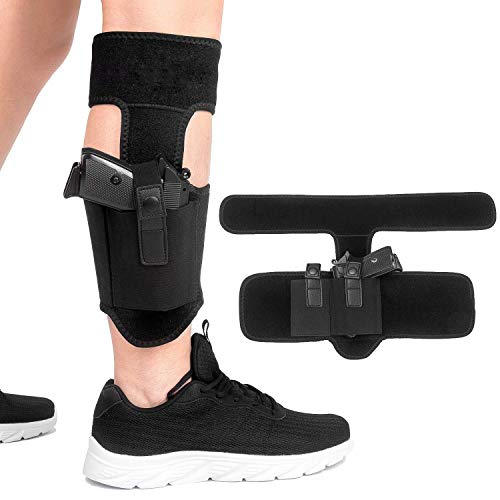 EZT3D Ankle Holster for Concealed Carry Pistol,Universal Leg Carry Gun  Holster with Magazine Pouch for Glock 42, 43, 36, 26, S&W Bodyguard   380 38,