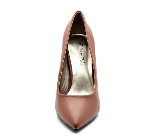 DREAM PAIRS CHRISTIAN Women's Classic Fashion Pointed Toe High Heel Dress Pumps New Tan Size 10