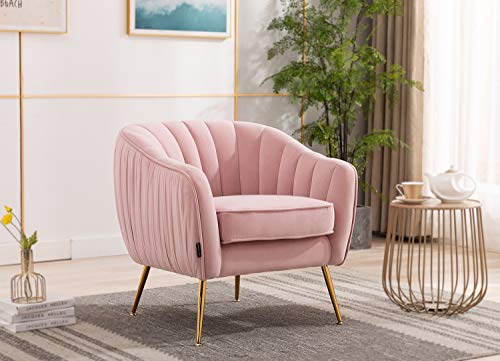 Artechworks Velvet ModernTub Barrel Arm Chair Upholstered Tufted with Golden Legs Accent Club Chair for Living Reading Room Bedroom, Pink