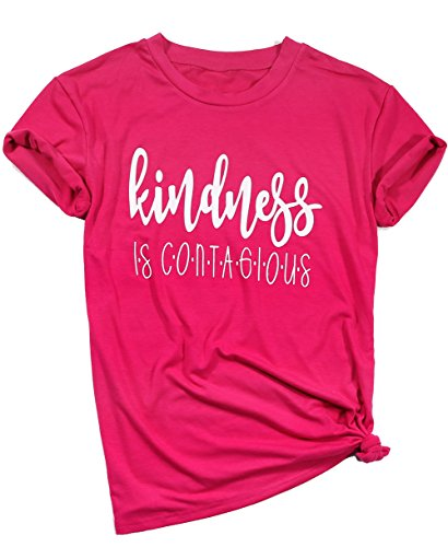 DUTUT Kindness is Contagious T-Shirt Women Fashion Short Sleeves O Neck Casual tee Top Size XL (Red)