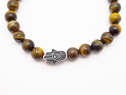 Eye of the Tiger Brown Bead Bracelet with Hamsa by Fine Jewelry 4 Me (Image #6)