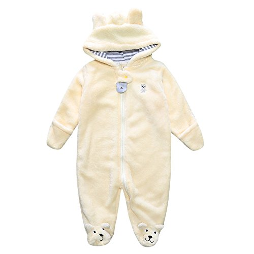 Birdfly Newborn Full Body Winter Clothes Cozy Zip Up Hoodie Bear Romper with Cute Ears Jumpsuit Bodysuit Footies for Infants Toddlers Baby Boys Girls (6M, White)