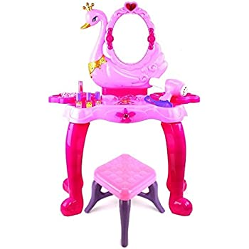 Amazon Com Pink Princess Make Up Vanity Table For Little