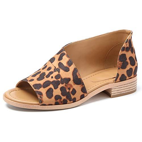Susanny Womens Flat Sandals Open Toe Slip on Fashion Summer Casual Shoes Leopard 9.5 B (M) -
