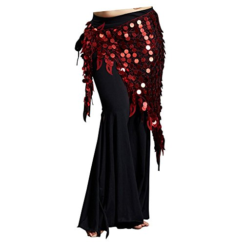 Burgundy Belly Dance - Dance Fairy Belly Dance Scarf Mermaid Sequins Mesh Triangle Hip Scarf(Burgundy)