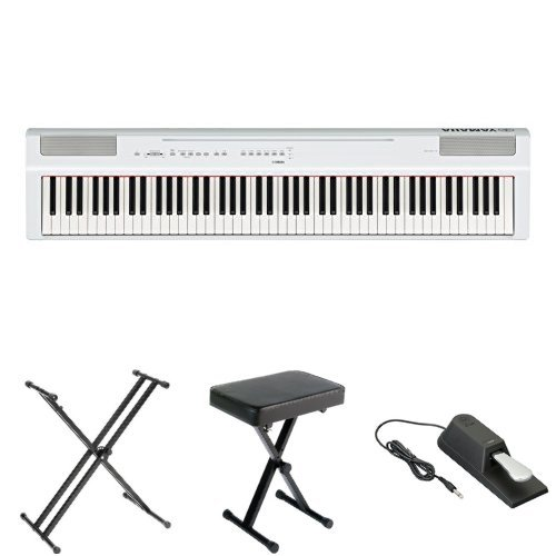Yamaha P125 Digital Piano Bundle with X Stand, Bench and Sustain Pedal, White by YAMAHA