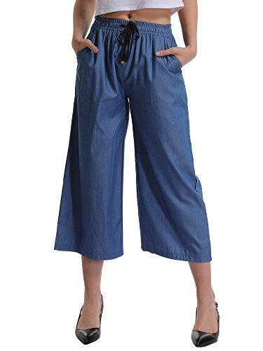 Gooket Women's Elastic Waist Wide Leg Cropped Capris Drawstring Jean Culottes Pants Chambray 3/4 Length Tag 6XL-US -