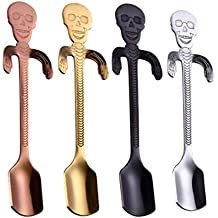 NewKelly Coffee Spoon Stainless Steel Tea Hanging cups Supplies Tableware Kitchen Skull (B)