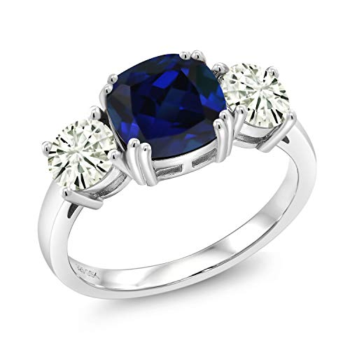 925 Sterling Silver 3-Stone Ring Cushion Blue Simulated Sapphire and Forever Classic Created Moissanite (KLM) 1.00ct (DEW) by Charles & Colvard (Size 7)