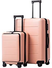 Luggage Suitcase Piece Set Carry On ABS+PC Spinner Trolley with pocket Compartmnet Weekend Bag (Sakura pink, 2-piece Set)