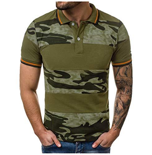 AHAYAKU Fashion Men's Casual Slim Fit Short Sleeve Sports O-Neck Shirt Top Blouse Army Green