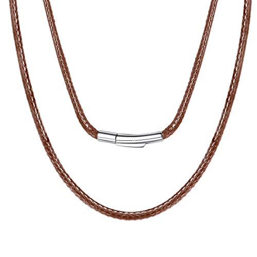 Woven Brown Leather Necklace Cord Chain for Pendant with Secure Clasp Male Gift 2mm Short Choker