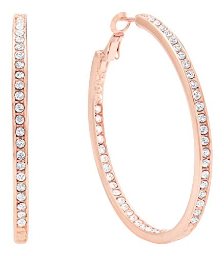 Bellina Bridal Wedding Austrian Crystal Rhinestone High Shine Inside-Out Hoop Earrings Rose Gold Plated 2 inch (MRG)