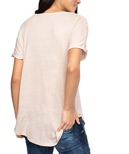 Esprit Mit Zier-Brusttasche, Camiseta para Mujer Beige (CREAM BEIGE 295)