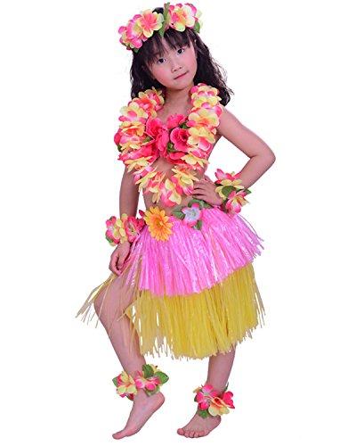 Kids Hawaiian Hula Dance Costume Ballet Performance Layered Dress Skirt Garland For Girl Child 40CM Full Set Dichromatic