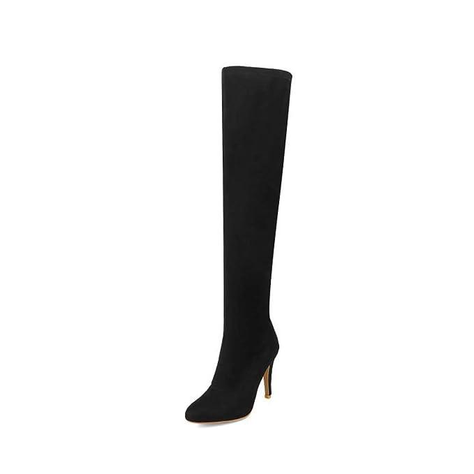 c3e81262d5751 DG Botas altas De las mujeres Moda Puntiagudo Estilete Botas largas tela  elástica Conjunto de pies Botas sobre la rodilla Otoño invierno Mantener  caliente ...
