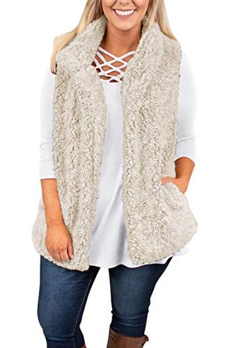 (VamJump Womens Casual Sherpa Fleece Open Front Vest Outerwear Apricot Medium )