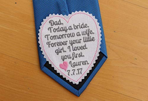 Dad I loved you first wedding heart Tie Patch, today a bride, tie label, Embroidered Patches,Father of the Bride Gift, iron-on available,S4