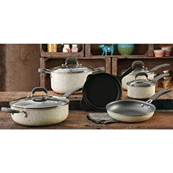 The Pioneer Woman Vintage Speckle 10-piece Non-stick Pre-seasoned Cookware Set, Linen Dishwasher Safe ...