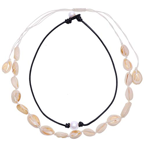 Pearl Electronic - UEUC Cultured Freshwater Pearl Choker Natural Shell Hawaii Choker Necklace for Women Genuine Leather Jewelry Handmade