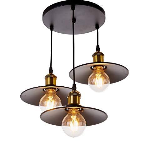 New Galaxy Lighting 3-Light Industrial Black Finish Metal Shade Hanging Pendant Ceiling Lamp Fixture