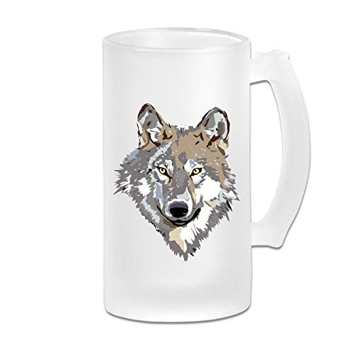 Wolf Face Clipart Frosted Glass Stein Beer Mug - Personalized Custom Pub Mug - 16 Oz Beverage Mug - Gift For Your Favorite Beer Drinker (Face Clipart)