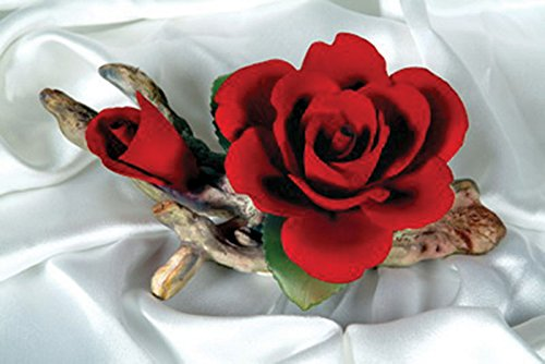 Capodimonte Rose on branch Hand made in Italy