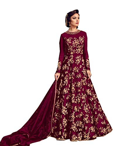 Delisa Indian/Pakistani Bollywood Party Wear Long Anarkali Gown for Womens Razzi violate N (Dark Pink, X-SMALL-36)