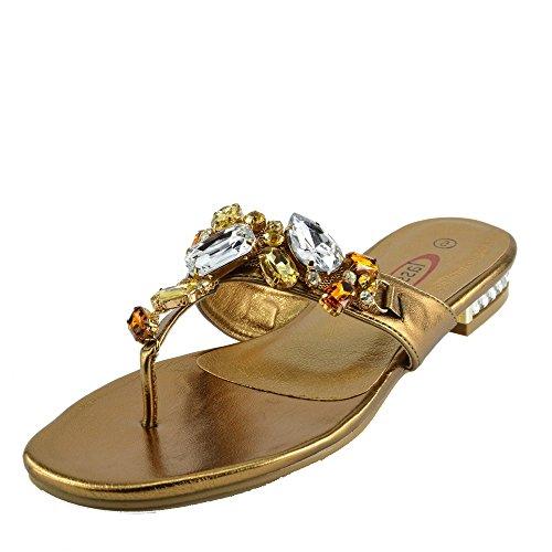 Ladies 1 Bronze Beach Diamante Fashion Sandales Kick Footwear d'été 8x5q44