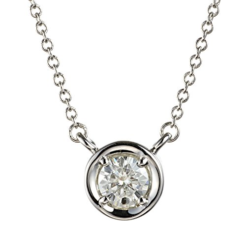 Forever Classic Round 4.5mm Bezel Set Moissanite Pendant Necklace, 0.33ct DEW by Charles & Colvard ()