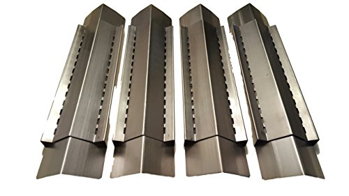 Set of 4 BBQ Gas Grill Heat Plate, Heat Shield, Heat Tent, Burner Cover, Vaporizer Bar, and Flavorizer Bar Steel Heat Shield for Grill King, Aussie, Charmglow, Brinkmann, Uniflame, Lowes Model Grills