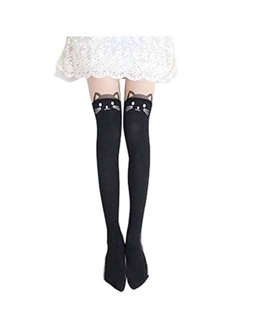 c2422930c Rbenxia Kitten Print Knee High Length Socks CAT Tail Tattoo Tights Pantyhose   Amazon.ca  Clothing   Accessories
