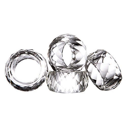 Set of 12 Donoucls Crystal Napkin Ring Holders - 2 Inch, Table Party Wedding Set Christmas Decorations For Dinner