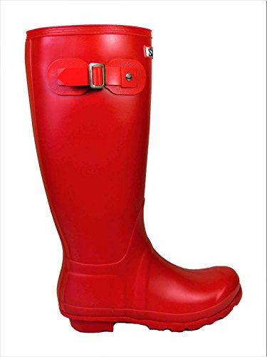 SKO'S Ladies Womens Original Tall Autumn Winter Waterproof Rain Snow Wellies Wellington Non Slip Sole Boots All Sizes Red Matt (W1) e9tVgx7