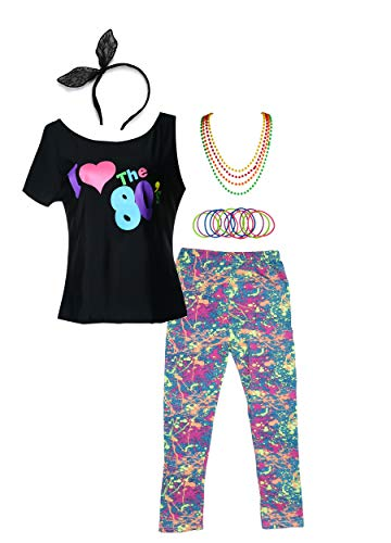 POKERGODZ 80s Girl Child T-Shirt and Leggings Complete 1980s Party Costume Accessories (7-8, -