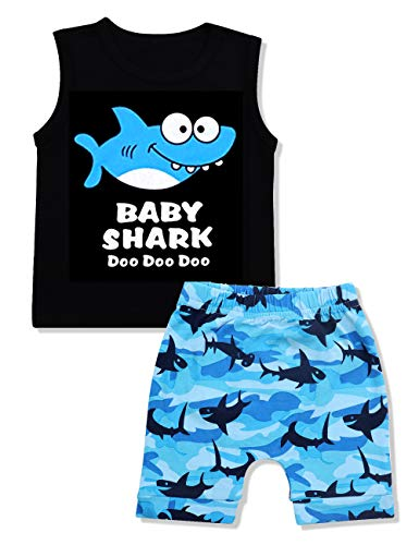 Boys Ink - Baby Boy Clothes Baby Shark Doo Doo Doo Print Summer Cotton Sleeveless Outfits Set Tops + Short Pants 12-18 Months