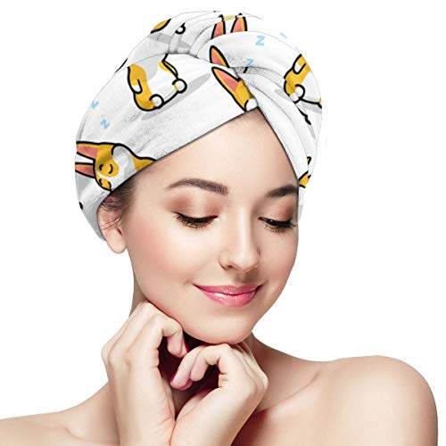 Hair Towel Turban Wrap - Anti Frizz Absorbent & Soft Shower head Towel, Quick dryer Hat, Bathing Wrapped Cap for Women Girls Mom Daughter (Corgi Dogs)