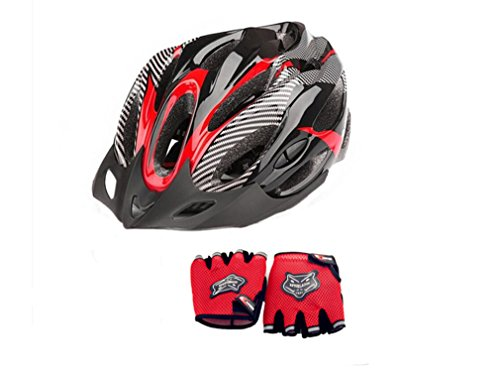Super Light 21 Vents Road Bicycle Bike Helmet with Outdoor Sports Gloves (Red)
