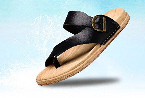 JiZhi Uomo scarpe / pantofole estate / sandali / ciabatte / antiscivolo / piedi della clip / scarpe da spiaggia / casuali tallone piano / marrone e nero / Walking , black , 44
