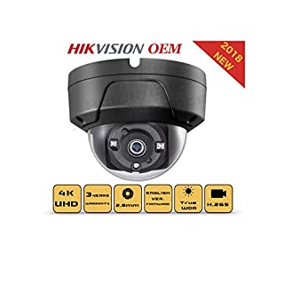 4K PoE Security IP Camera - Compatible with Hikvision DS-2CD2185FWD-I UltraHD 8MP Dome Onvif IR Night Vision Weatherproof WideAngle 2.8mmLens Best for Home and Business Security 3 Year Warranty