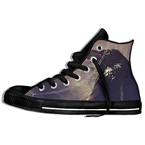 Classiche Sneakers Alte Scarpe Di Tela Anti-skid Corvo Casual Da Passeggio Per Uomo Donna Nero