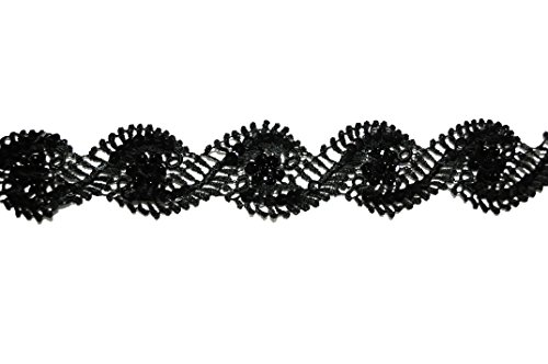 "Altotux 2"" White Black Floral Sequins Beaded Bridal Venice Lace Trim By Yardage (Black)"
